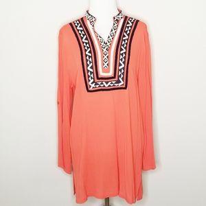 THML Orange Boho Embroidered Tunic L